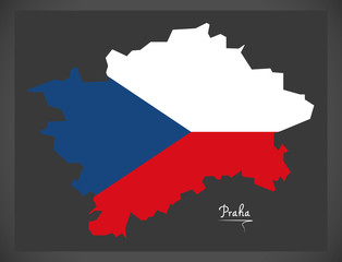 Praha map of the Czech Republic with national flag illustration
