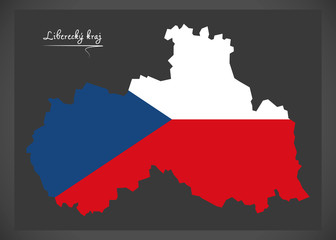 Liberecky kraj map of the Czech Republic with national flag illustration