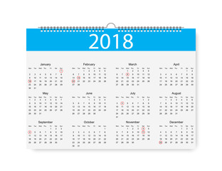 2018 New Year Calendar. Holiday event planner,Week Starts Sunday