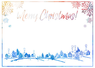 """Sparkling silhouette frame with winter village and greeting text """"Merry Christmas!""""."""
