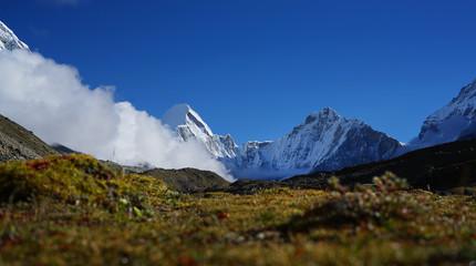 Low Shot Panorama of Pumori Mount, Everest Base Camp Trek, Nepal