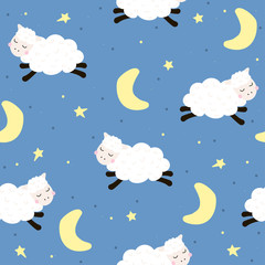 Good night seamless pattern with cute jumping lambs. Vector hand drawn illustration.