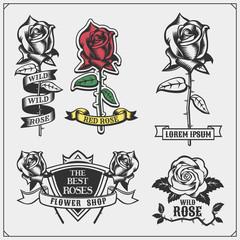 Set of flower shop emblems, logos, badges, labels and design elements.