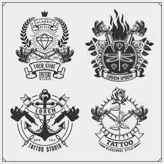 Vector set of tattoo salon labels, badges and design elements. Tattoo studio emblems with professional equipment, diamond and anchor.
