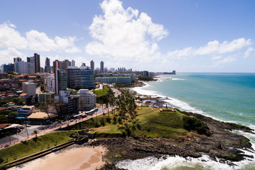 Aerial view of Barra beach in Salvador, Bahia