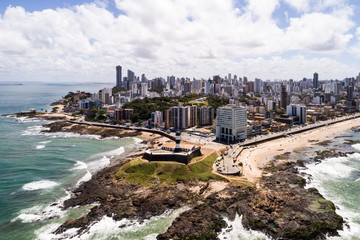 Aerial view of Barra lighthouse and the cityscape, Bahia, Brazil