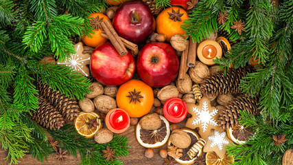 Apples tangerine fruits walnuts cookies food background