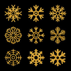Set of the gold sparkling snowflakes
