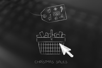 Christmas shopping basket with cursor clicking and price tag with icons