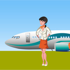 Nice stewardess in uniform pointing to the airplane