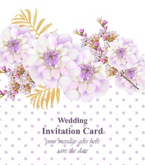 Vintage floral card. Beautiful dotted background. hand drawing realistic styles