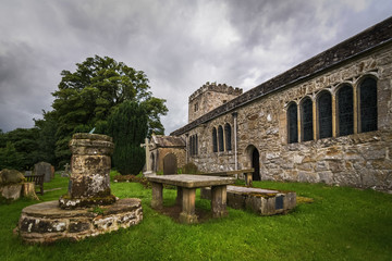 Hubberholme church St Michael and all Angels with cemetery and beautiful old Norman style architecture