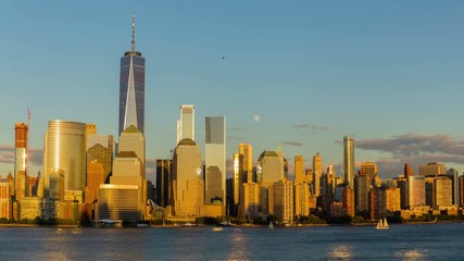 Fototapete - Lower Manhattan at Golden Hour time-lapse