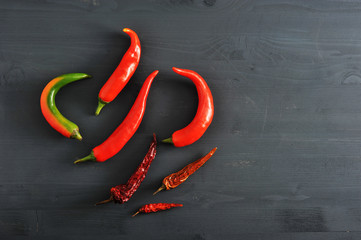 Chilli peppers - fresh peppers and dried pods of chili peppers
