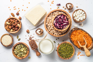 Vegan protein source on white