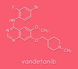Vandetanib cancer drug molecule (kinase inhibitor). Skeletal formula.