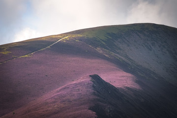 Beautiful contrast in shadow and purple heather hit by warm and golden sunlight with path leading to mountaintop