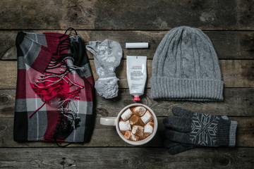 Selection of essentials for cold winter weather