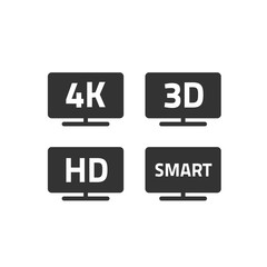 4k ultra hd tv and full hd television icons set line outline style, black and white hd video emblem label for lcd or led tv flat screen isolated on white, 3d or smart TV signs