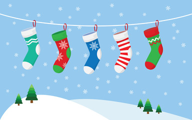 Christmas stockings for presents, hanging on a rope.