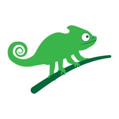 Chameleon lizard sitting on branch. vector illustration