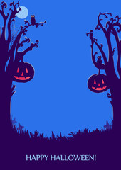 Halloween background for design. Dark pattern. Illustration. Print for polygraphy, posters and textiles