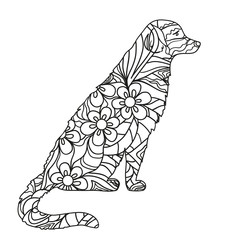 Dog. Hand drawn dog with abstract patterns on isolation background. Design for spiritual relaxation for adults. Black and white illustration for coloring. Design Zentangle. Zen art