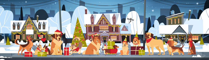 Group Of Dogs In Santa Hats Outdoors Near Decorated Houses Marry Christmas And Happy New Year Horizontal Poster Flat Vector Illustration