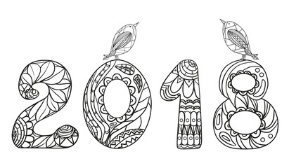2018 Numbers . Zentangle. Hand drawn numbers with birds on isolation background. Design for spiritual relaxation for adults. Line art creation. Black and white illustration for coloring.