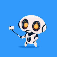 Wall Mural - Cute Robot Take Selfie Photo Isolated Icon On Blue Background Modern Technology Artificial Intelligence Concept Flat Vector Illustration