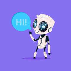 Wall Mural - Cute Robot Say Hi Isolated Icon On Blue Background Modern Technology Artificial Intelligence Concept Flat Vector Illustration