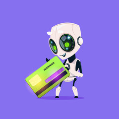 Wall Mural - Cute Robot Hold Credit Card Isolated Icon On Blue Background Modern Technology Artificial Intelligence Concept Flat Vector Illustration