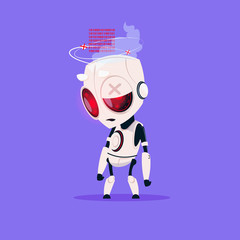 Wall Mural - Cute Robot Broken Isolated Icon On Blue Background Modern Technology Artificial Intelligence Concept Flat Vector Illustration