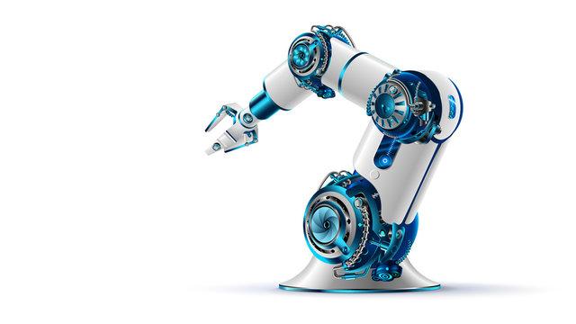 robotic arm 3d on white background. Mechanical hand. Industrial robot manipulator. Modern industrial technology.