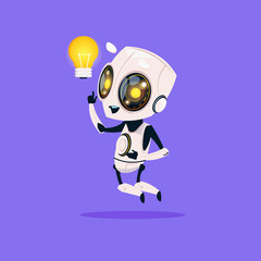 Wall Mural - Cute Robot Hold Light Bulb Isolated Icon On Blue Background Modern Technology Artificial Intelligence Concept Flat Vector Illustration