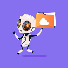 Wall Mural - Cute Robot Hold Folder With Cloud Isolated Icon On Blue Background Modern Technology Artificial Intelligence Concept Flat Vector Illustration