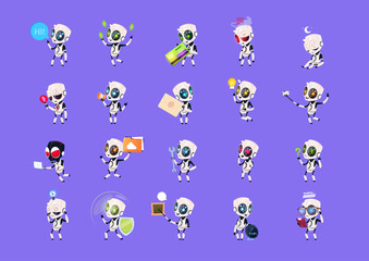 Wall Mural - Set Of Cute Robots Icons Isolated On Blue Background Modern Technology Artificial Intelligence Concept Vector Illustration