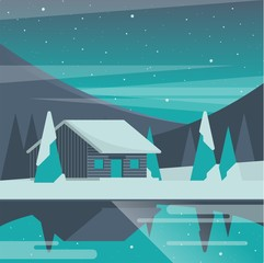 cabin in the night