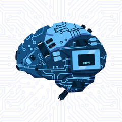 Wall Mural - Modern Shape Of Brain Mechanism Over Circuit Motherboard Background Vector Illustration