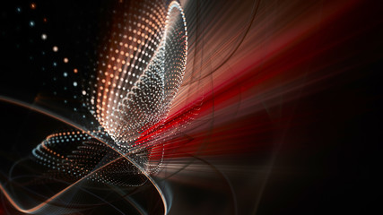 Abstract black and red background. Fractal graphics series. Three-dimensional composition of dots, waves and rays of light. Wide.