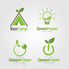 Green Energy Power Plug with leaves for ecology, eco friendly, natural business or product