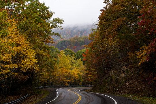 Curvy Mountain Roads in Morning Fog - West Virginia