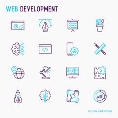 Web development thin line icons set of programming, graphic design, mobile app, strategy, artificial intelligence, optimization, analytics. Vector illustration.