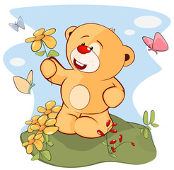 Illustration of a Stuffed Toy Bear Cub. Cartoon Character