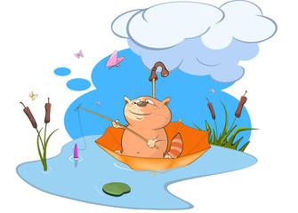 Illustration of a Cute Cat Fisherman. Cartoon Character