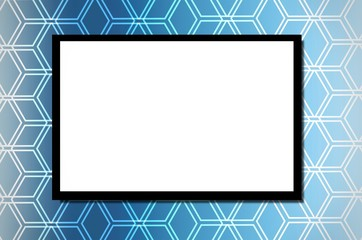white blank board or advertising billboard for your text message or media content with blue hexagon shape pattern background, commercial, marketing and advertising concept