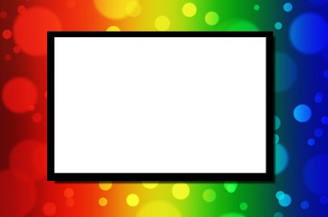 white blank board or advertising billboard for your text message or media content with abstract blurred of colorful light bokeh background, commercial, marketing and advertising concept