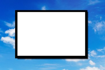 white blank board or advertising billboard for your text message or media content with beautiful nature blue sky and cloud background, commercial, marketing and advertising concept