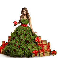 Woman Christmas Tree Dress and Presents Gifts, Fashion Model New Year Gown Isolated over White background