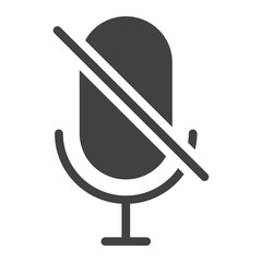 No Microphone glyph icon, web and mobile, no record sign vector graphics, a solid pattern on a white background, eps 10.